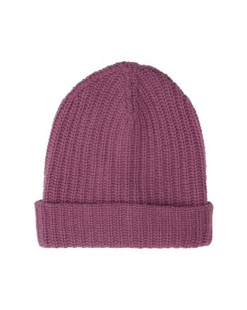 Ribbed Cashmere Beanie - Raspberry Pink