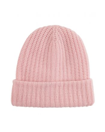 Ribbed Cashmere Beanie - Light Pink